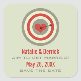 Bull's-Eye Save the Date Stickers, Gray & Red Square Sticker