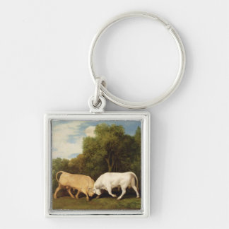 Bulls Fighting, 1786 (oil on panel) Keychain