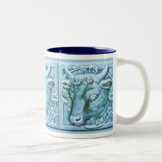 Bull's Head Majolica Inspired Art Coffee Mug