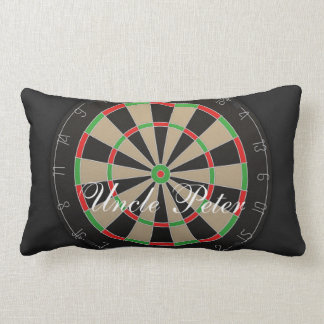 Bullseye Dartboard Monogram Name Lumbar Pillow