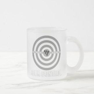 bullseye gun control frosted glass coffee mug