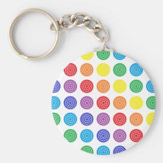 Bullseye Rainbow Basic Round Button Keychain