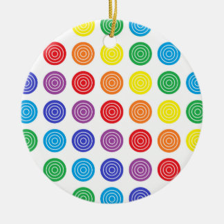 Bullseye Rainbow Ceramic Ornament
