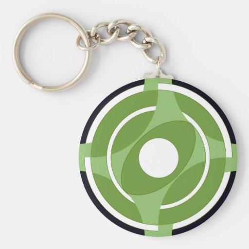 Bullseye Vesica Green Keychains