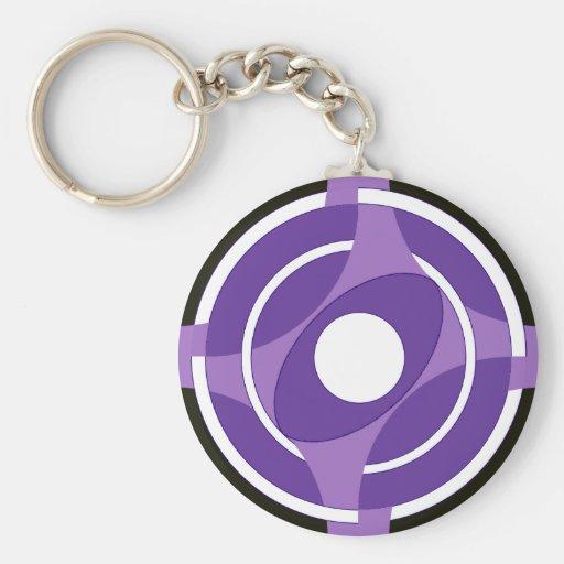 Bullseye Vesica Purple Key Chain