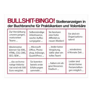 Bullshit bingo tarjetas postales