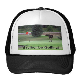 Bullwinkle plays a round of golf trucker hat