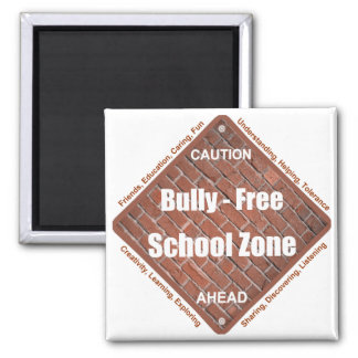 Bully - Free School Zone 2 Inch Square Magnet