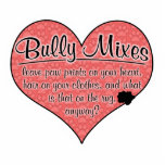 "Bully Mixes Paw Prints Dog Humor Statuette<br><div class=""desc"">This design is a celebration of the many gifts that a beloved Bully Mix can bring into our lives, though we may appreciate some of those gifts more than others! On a large heart covered with puppy pawprints (and a small stain in the corner!), the words read &#39;Bully Mixes leave...</div>"