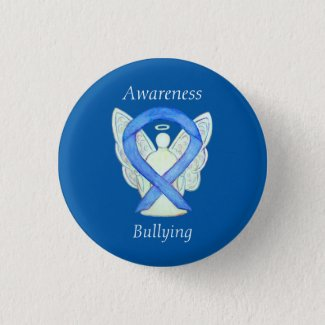 Bullying Awareness Angel Blue Ribbon Custom Pin