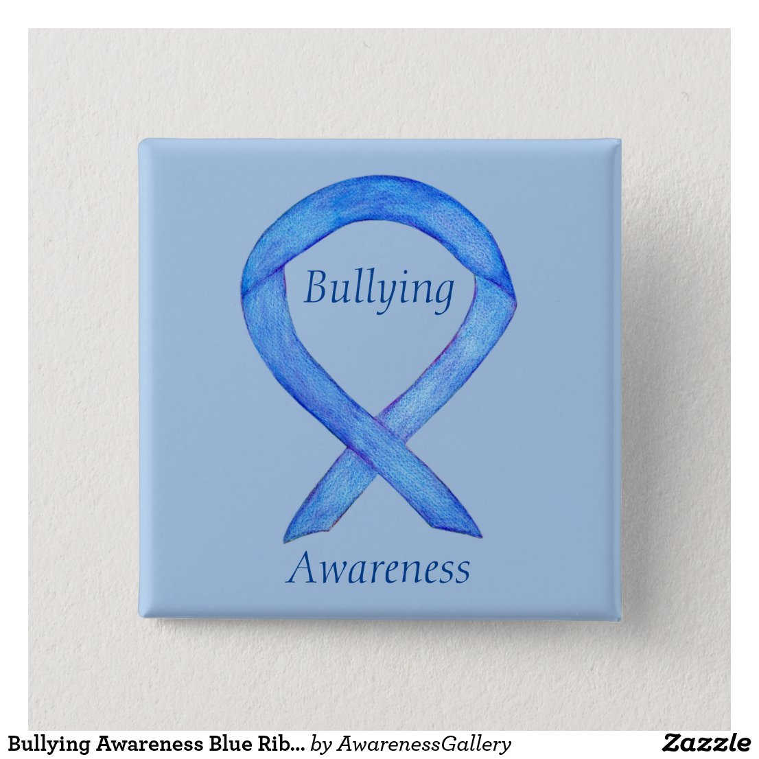 Bullying Awareness Blue Ribbon Custom Pin
