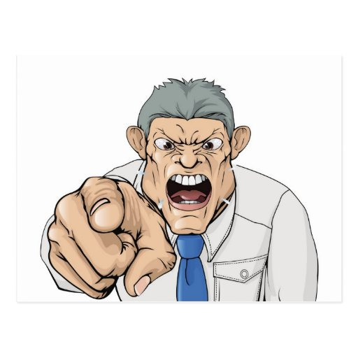 Bullying boss shouting and pointing postcard