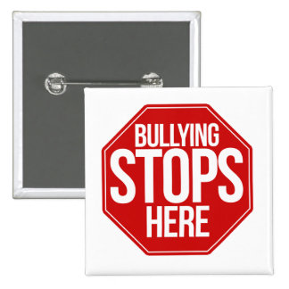Bullying stops here pinback button