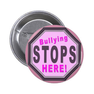 Bullying Stops Here Purple Pinback Button