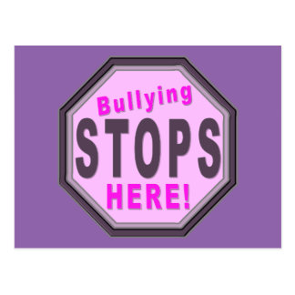 Bullying Stops Here Purple Postcard