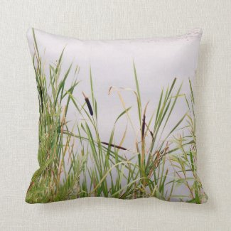 Bulrushes By Water Throw Pillow