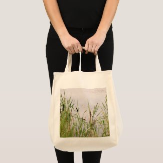 Bulrushes By Water. Tote Bag