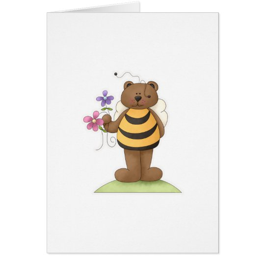 Bumble Bear with flowers Card