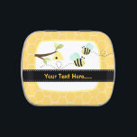 """Bumble Bee Add Your Own Text Mint Favor Tin<br><div class=""""desc"""">Our bumble bee design makes the perfect gift for any occasion. Simply type in your own text. Select different tin styles,  jelly bean flavors and colors.</div>"""