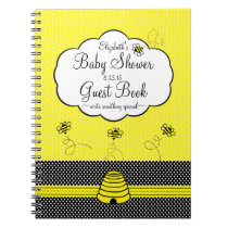 Bumble Bee and Bee Hive Baby Shower Guest Book- Spiral Notebook