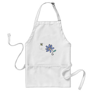 Bumble Bee and Blue Flower Adult Apron