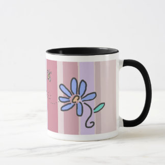 Bumble Bee and Blue Flower with Mauve Stripes Mug