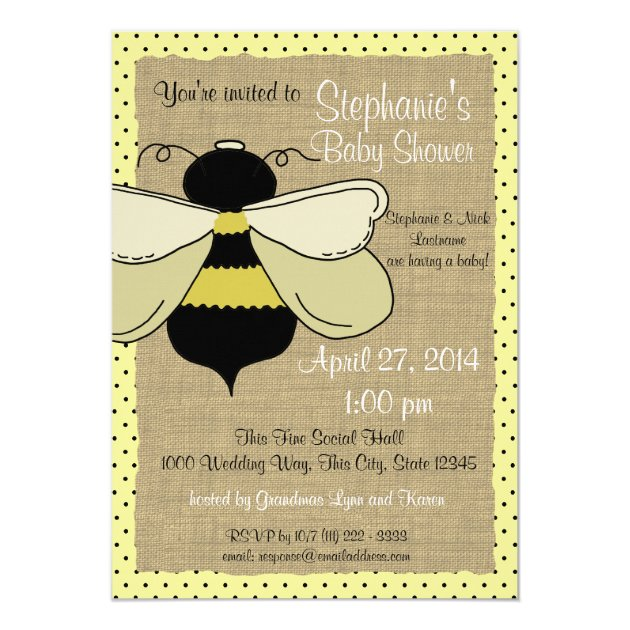 Bumble Bee and Burlap Bridal Shower Card