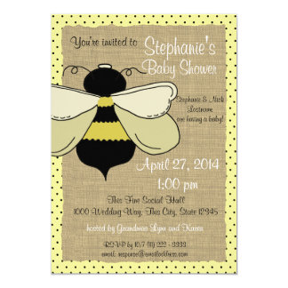 Bumble Bee and Burlap Bridal Shower 5x7 Paper Invitation Card