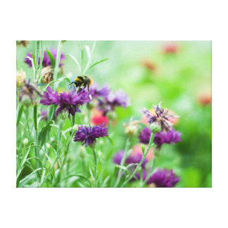 Bumble bee and flowers canvas print