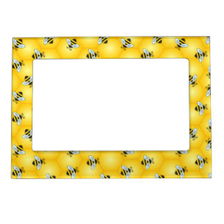 Bumble Bee and Golden Honeycomb Pattern Magnetic Photo Frame
