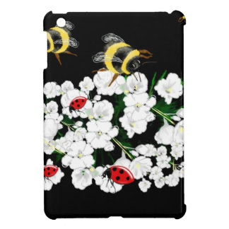 Bumble bee and ladybugs on flowers art gifts iPad mini covers