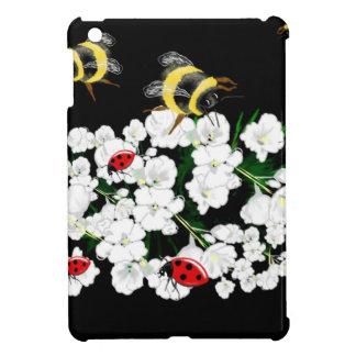 Bumble bee and ladybugs on flowers art gifts iPad mini covers