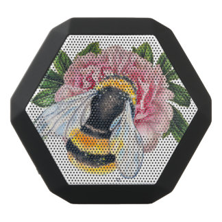 Bumble Bee And Peony Black Bluetooth Speaker