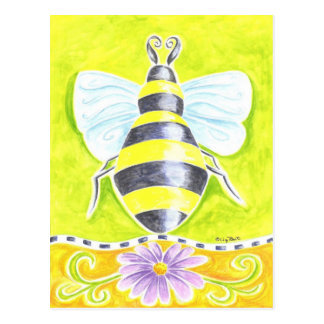 Bumble Bee and Purple Daisy Postcard