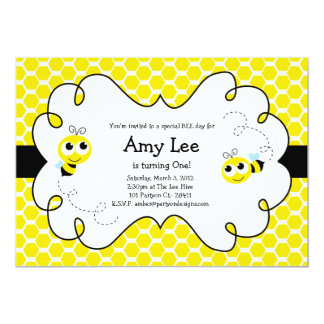 Bumble Bee Babee Birthday yellow Invitation