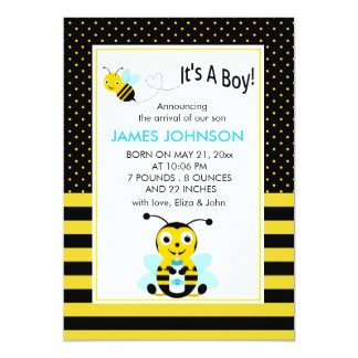 Bumble Bee Baby Boy Birth Annoucement Card