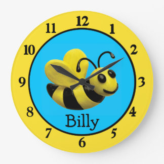 Bumble Bee Baby Boy Shower Nursery Large Clock