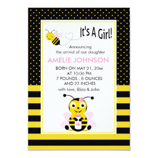 Bumble Bee Baby Girl Birth Annoucement Card