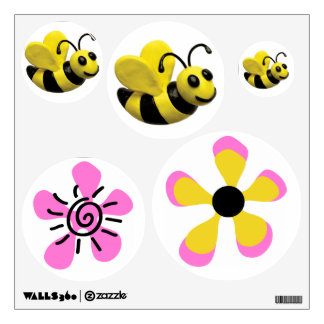 Bumble Bee Baby Girl Shower Bees and Flowers Wall Decal