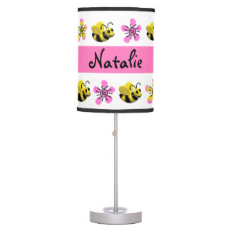 Bumble Bee Baby Girl Shower Table Lamps