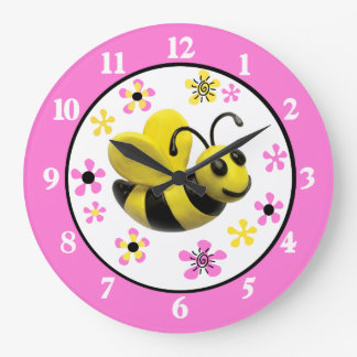 Bumble Bee Baby Girl Shower Large Clock