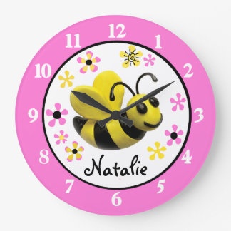 Bumble Bee Baby Girl Shower Nusery Large Clock