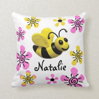 Bumble Bee Baby Girl Shower Throw Pillows