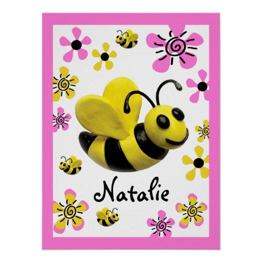 Bumble Bee Baby Girl Shower Posters