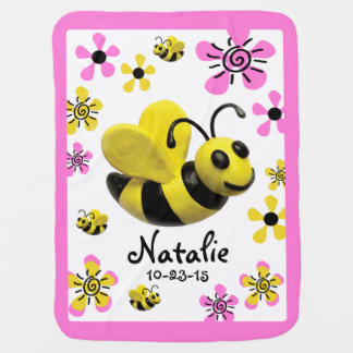 Bumble Bee Baby Girl Shower Swaddle Blankets