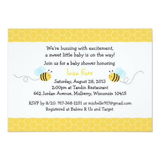 Ble Bee Baby Shower Blue Yellow Invitation