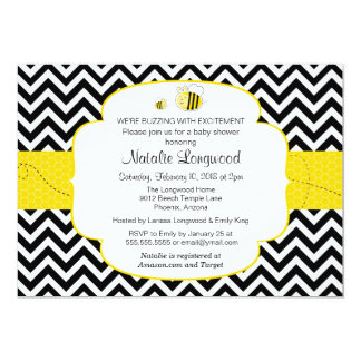 Bumble Bee Baby Shower, Buzzing with Excitement 5x7 Paper Invitation Card