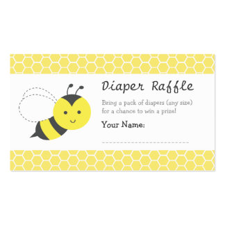 Bumble Bee Baby Shower, Diaper Raffle Tickets Double-Sided Standard Business Cards (Pack Of 100)
