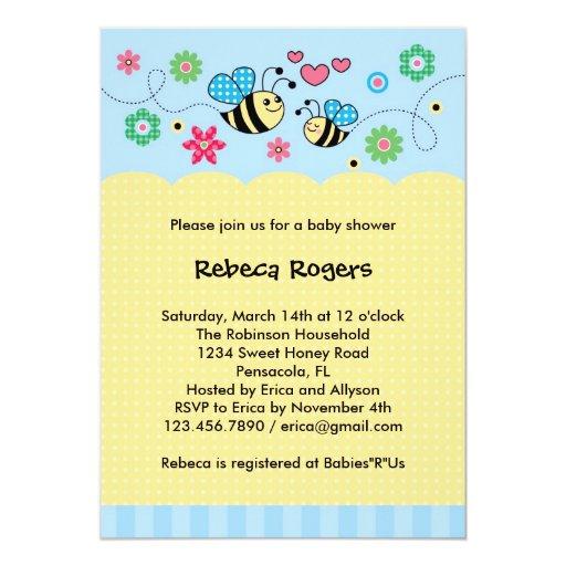 "Bumble Bee Baby Shower Invitation 5"" X 7"" Invitation Card"