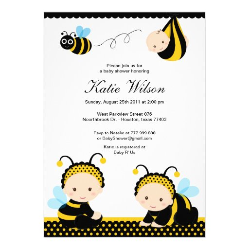 bumble bee baby shower announcement